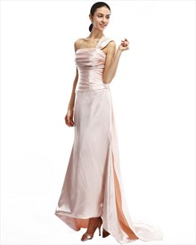 Peach One Shoulder Pleated Bust Sheath Prom Dress With Watteau Train