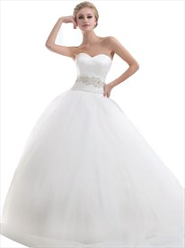 Ivory Organza Strapless Beaded Ball Gown Wedding Dress With Chapel Train