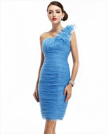 Blue Organza One Shoulder Short Bridesmaid Dress With Flower Detail