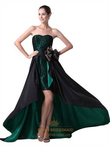 emerald green and black strapless high low prom dress with