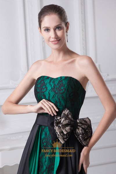 Emerald Green And Black Strapless High Low Prom Dress With Lace Bodice