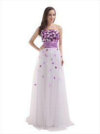 White Strapless Tulle Floor Length Prom Dress With Petal Detailed Bodice