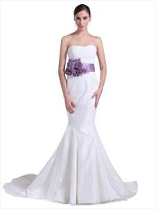 White Lace Mermaid Chapel Train Wedding Dress With Purple Flower Belt