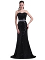 Black Sequin Mermaid Strapless Prom Dress With Cut Glass Beading