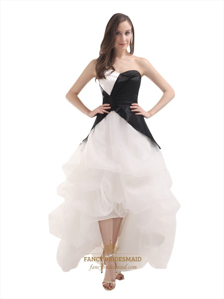Black And White Strapless Sweetheart Organza Prom Dress With Pick Up