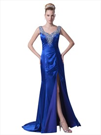 Royal Blue V Neck Court Train Beaded Prom Dress With Slits On The Side