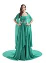 Green Strapless Sweep Train Chiffon Beaded Waist Prom Dress With Shawl