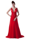 Red Chiffon Straps Deep V Neck Beaded Prom Dress With Twist Back
