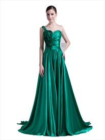 Sea Green One Shoulder Sweep Train Prom Dress With Ruffle Flower