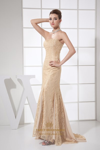 Vintage Champagne Lace Mermaid Strapless Floor-Length Evening Dress