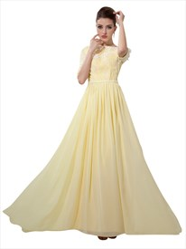 Yellow Bateau Neckline Half Sleeves Dress With Petal And Beading Detail