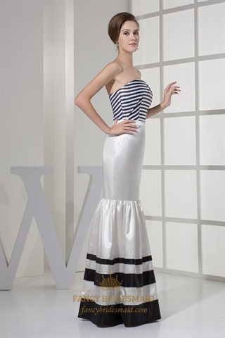 Unique Black And White Strapless Mermaid Striped Prom Evening Dress ...