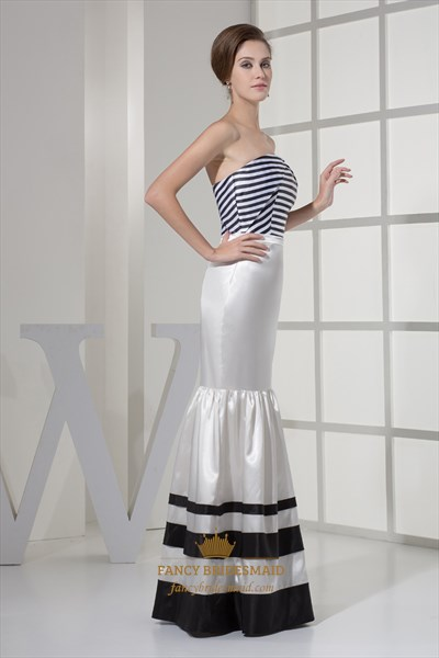 Unique Black And White Strapless Mermaid Striped Prom Evening Dress