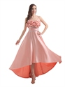 Salmon Spaghetti Strap Satin Beaded Waistband Prom Dress With Bow On Back