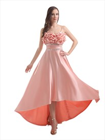 Salmon Spaghetti Strap Satin Beaded Waistband Prom Dress With Bow On Back