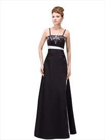Black And White Spaghetti Strap Sheath Prom Dress With Lace Embroidery