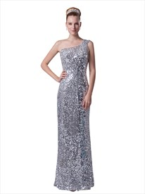 Silver Sequin One Shoulder Sheath Floor Length Prom Evening Dress