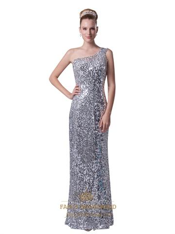 Silver Sequin One Shoulder Sheath Floor Length Prom