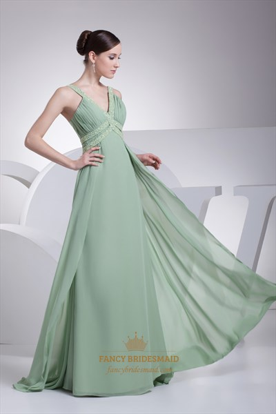 45859ee834d Sage Green V Neck Chiffon Prom Dress With Beaded Neckline And Straps ...