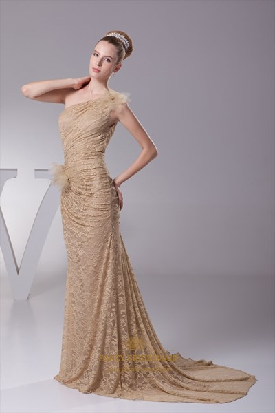 Champagne Lace Mermaid One Shoulder Sweep Train Prom Dress With Flowers