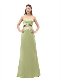 Sage Green Sweetheart Long Bridesmaid Dress With Beaded Waist Detail
