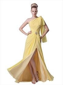 Yellow Chiffon One Shoulder Beaded Embellished Evening Gown With Slits