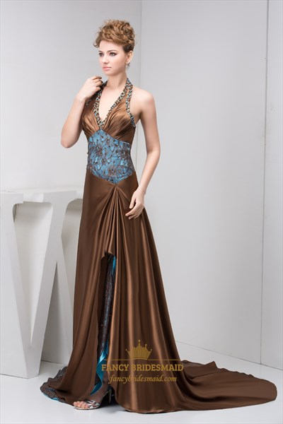 Brown And Blue Beaded Halter Neck Prom Dress With Embellished Lace Trim
