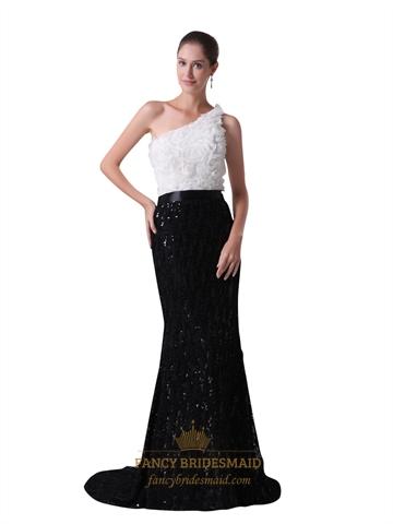 Black And White One Shoulder Rosette Bodice Sequin Skirt