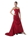 Red Taffeta Strapless Sweetheart Draped Prom Dress With Lace Up Back