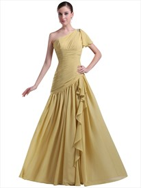 Yellow One Shoulder Chiffon Pleated Bust Dress With Cascading Detail