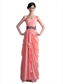 Coral One Shoulder Side Draped Chiffon Prom Dress With Cascading Detail