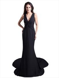Black Mermaid V-Neck Sweep Train Chiffon Prom Dress With Beaded Neckline