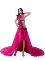 Hot Pink One Shoulder Sequin Bodice Organza Prom Dress With Flower