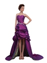 Purple Strapless High Low Pick-Up Taffeta Prom Dress With Beading