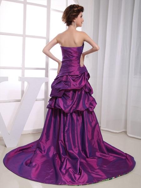 Purple Strapless High Low Pick-Up Taffeta Prom Dress With Beading