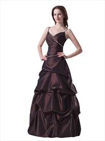 Brown Spaghetti Strap V Neck Taffeta Prom Dress With Pick Up Skirt