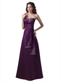Elegant Purple Strapless Floor Length Prom Dress With Embroidery