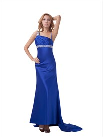 Royal Blue Sheath Beaded Empire Waist Floor-Length Prom Dress With Train