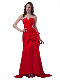 Red Strapless Applique Detail Lace Up Prom Dress With Ruffle At Waist