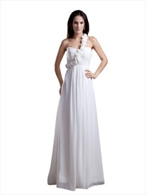 White One Shoulder Flower Strap Empire Waist Chiffon Bridesmaid Dress