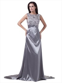Silver Sheath Lace Bodice Bateau Neck Sleeveless Prom Dress With Train