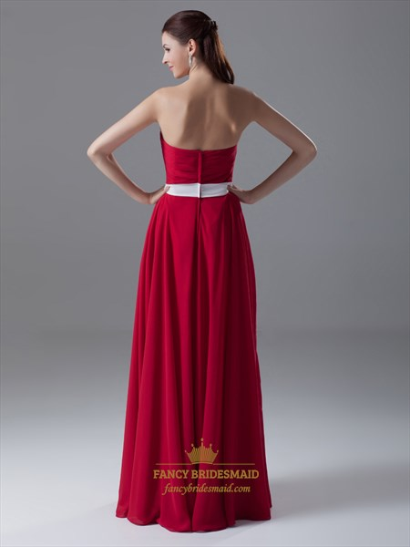 Red Strapless Sweetheart Neckline Bridesmaid Dress With White Sash