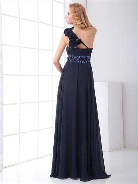 e9f22ede81 Navy Blue Chiffon One Shoulder Rhinestone Prom Dress With Flower Strap