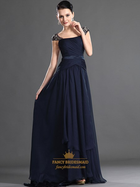 Navy Blue Chiffon Beaded Embellished Prom Dress With Open Back