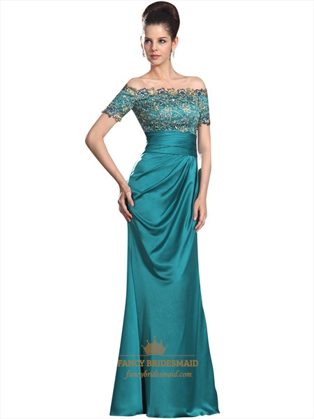 Turquoise Lace Bodice Off The Shoulder Formal Dresses With Short Sleeves