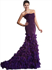 Purple Strapless Petal Embellished Mermaid Prom Dress With Train