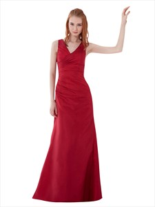Red Taffeta V-Neck Sleeveless Sheath Pleated Long Bridesmaid Dress
