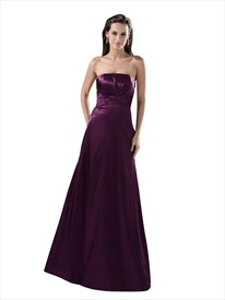 Grape Strapless Full Length Bridesmaid Dress With Back Cascading Ruffle