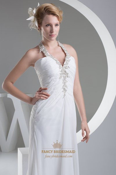 Ivory Asymmetrical Neck Chiffon Prom Dress With Beading And Applique
