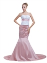 White And Pink Strapless Mermaid Appliqued Prom Dress With Beaded Empire